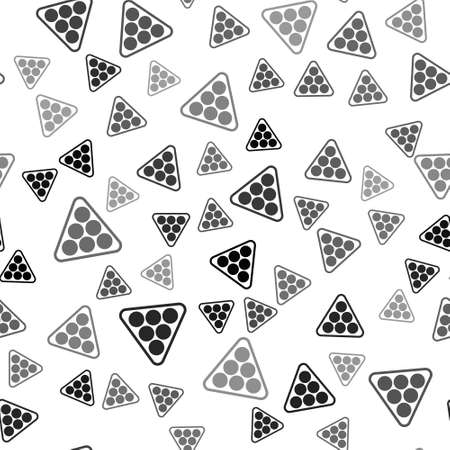 Black Billiard balls in a rack triangle icon isolated seamless pattern on white background. Vector
