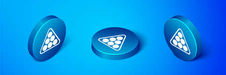 Isometric Billiard balls in a rack triangle icon isolated on blue background. Blue circle button. Vector