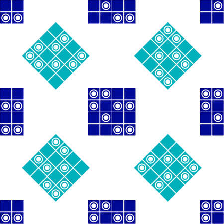 Blue Board game of checkers icon isolated seamless pattern on white background. Ancient Intellectual board game. Chess board. White and black chips. Vector Illustration