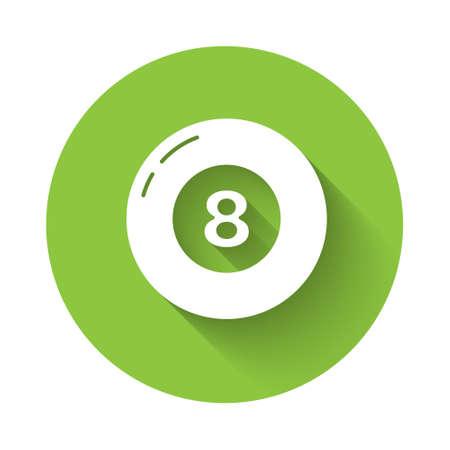 White Billiard pool snooker ball icon isolated with long shadow. Green circle button. Vector