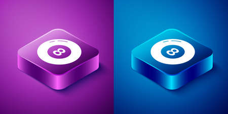 Isometric Billiard pool snooker ball icon isolated on blue and purple background. Square button. Vector 向量圖像