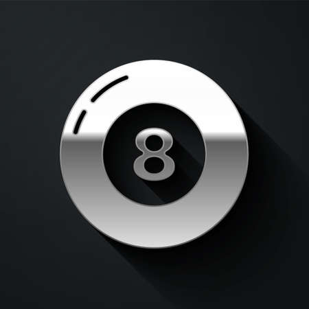 Silver Billiard pool snooker ball icon isolated on black background. Long shadow style. Vector 向量圖像