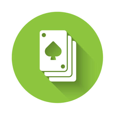 White Playing cards icon isolated with long shadow. Casino gambling. Green circle button. Vector