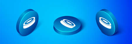 Isometric Checker game chips icon isolated on blue background. Blue circle button. Vector Vecteurs