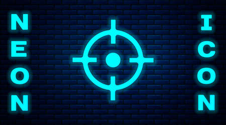 Glowing neon Target sport icon isolated on brick wall background. Clean target with numbers for shooting range or shooting. Vector