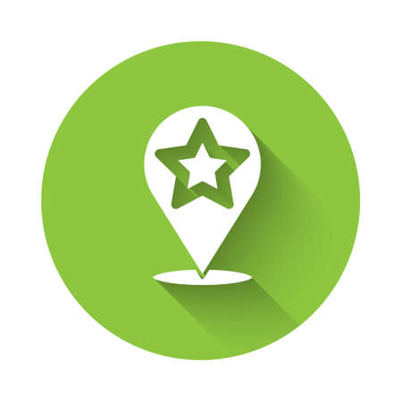 White Map pointer with star icon isolated with long shadow. Star favorite pin map icon. Map markers. Green circle button. Vector Ilustração