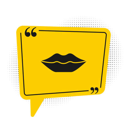 Black Smiling lips icon isolated on white background. Smile symbol. Yellow speech bubble symbol. Vector