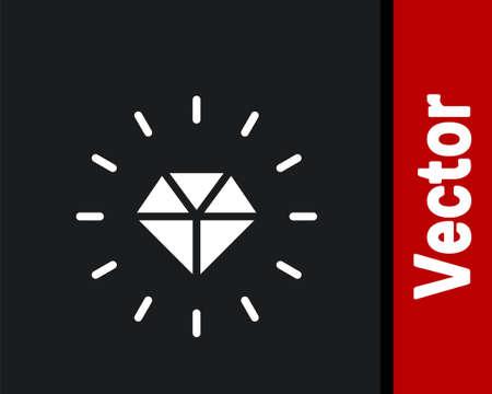 White Diamond icon isolated on black background. Jewelry symbol. Gem stone. Vector Ilustrace