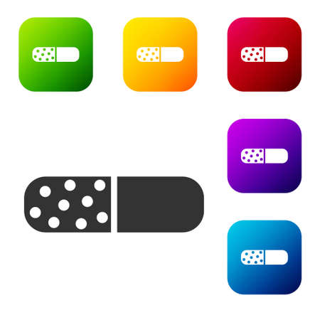 Black Vitamin complex of pill capsule icon isolated on white background. Healthy lifestyle. Set icons in color square buttons. Vector