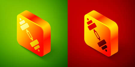 Isometric Dumbbell icon isolated on green and red background. Muscle lifting icon, fitness barbell, gym, sports equipment, exercise bumbbell. Square button. Vector