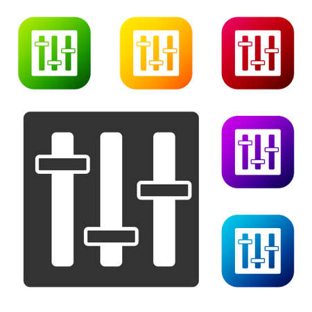 Black Sound mixer controller icon isolated on white background. Dj equipment slider buttons. Mixing console. Set icons in color square buttons. Vector