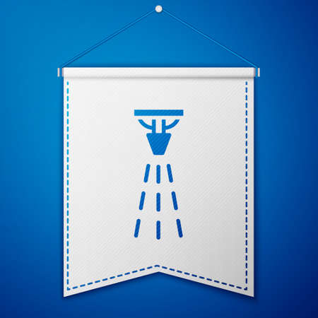 Blue Fire sprinkler system icon isolated on blue background. Sprinkler, fire extinguisher solid icon. White pennant template. Vector