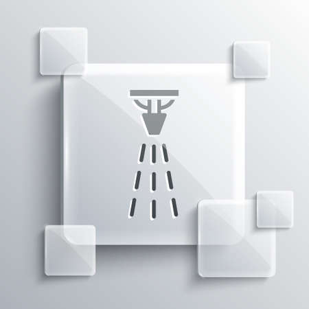 Grey Fire sprinkler system icon isolated on grey background. Sprinkler, fire extinguisher solid icon. Square glass panels. Vector