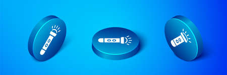 Isometric Flashlight icon isolated on blue background. Blue circle button. Vector