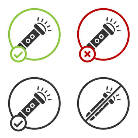 Black Flashlight icon isolated on white background. Circle button. Vector