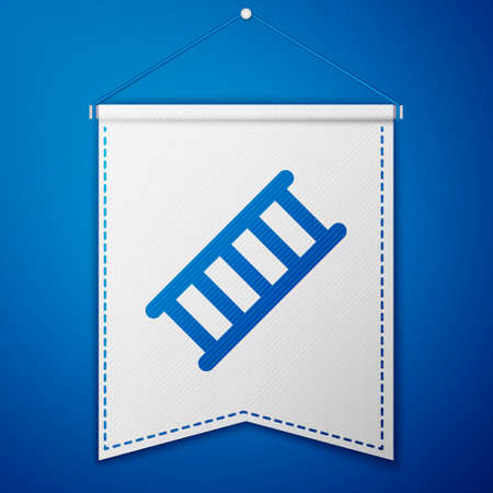Blue Fire escape icon isolated on blue background. Pompier ladder. Fireman scaling ladder with a pole. White pennant template. Vector