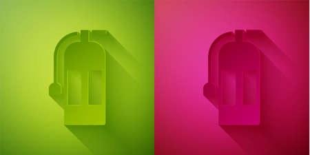 Paper cut Fire extinguisher icon isolated on green and pink background. Paper art style. Vector