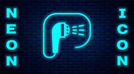 Glowing neon Shower head with water drops flowing icon isolated on brick wall background. Vector