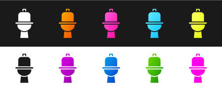 Set Toilet bowl icon isolated on black and white background. Vector