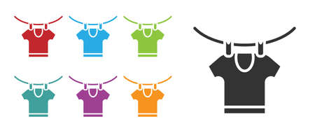 Black Drying clothes icon isolated on white background. Clean shirt. Wash clothes on a rope with clothespins. Clothing care and tidiness. Set icons colorful. Vector