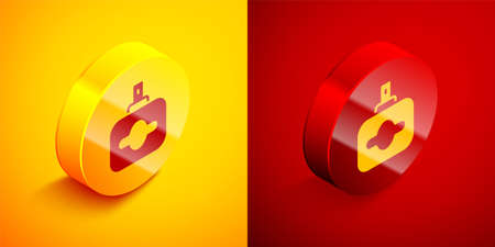 Isometric Perfume icon isolated on orange and red background. Circle button. Vector