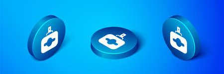 Isometric Perfume icon isolated on blue background. Blue circle button. Vector Illusztráció