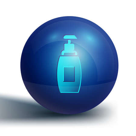 Blue Bottle of liquid antibacterial soap with dispenser icon isolated on white background. Antiseptic. Disinfection, hygiene, skin care. Blue circle button. Vector