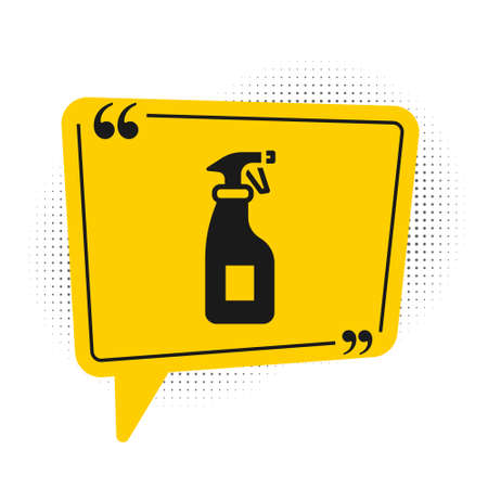 Black Cleaning spray bottle with detergent liquid icon isolated on white background. Yellow speech bubble symbol. Vector Illusztráció