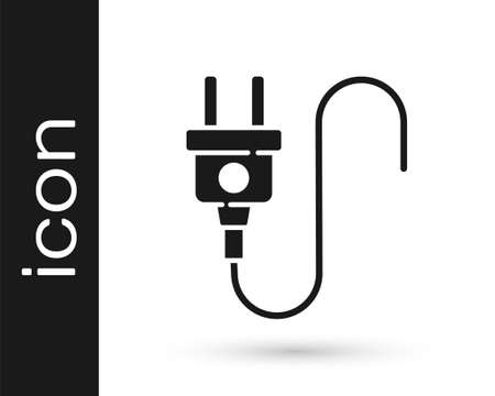Black Electric plug icon isolated on white background. Concept of connection and disconnection of the electricity. Vector