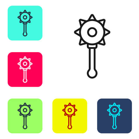 Black line Medieval chained mace ball icon isolated on white background. Medieval weapon. Set icons in color square buttons. Vector