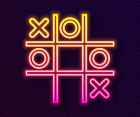 Glowing neon line Tic tac toe game icon isolated on black background. Vector