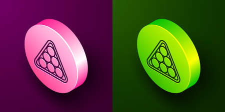 Isometric line Billiard balls in a rack triangle icon isolated on purple and green background. Circle button. Vector 向量圖像
