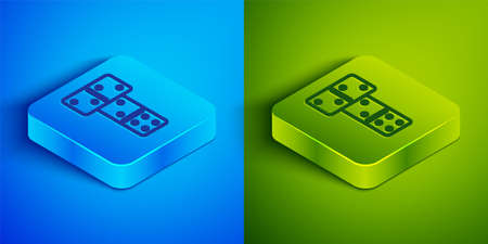 Isometric line Domino icon isolated on blue and green background. Square button. Vector