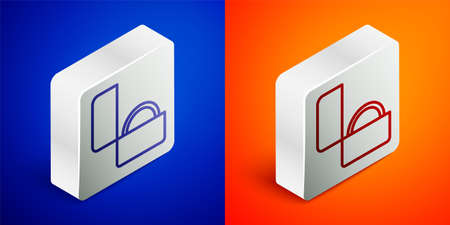 Isometric line Diamond engagement ring icon isolated on blue and orange background. Silver square button. Vector