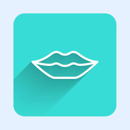 White line Smiling lips icon isolated with long shadow. Smile symbol. Green square button. Vector