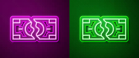 Glowing neon line Tearing apart money banknote into two peaces icon isolated on purple and green background. Vector