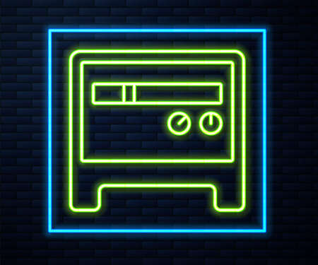 Glowing neon line Guitar amplifier icon isolated on brick wall background. Musical instrument. Vector