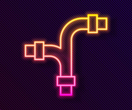 Glowing neon line Industry metallic pipe icon isolated on black background. Plumbing pipeline parts of different shapes. Vector