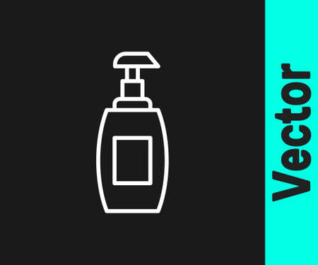 White line Bottle of liquid antibacterial soap with dispenser icon isolated on black background. Antiseptic. Disinfection, hygiene, skin care. Vector
