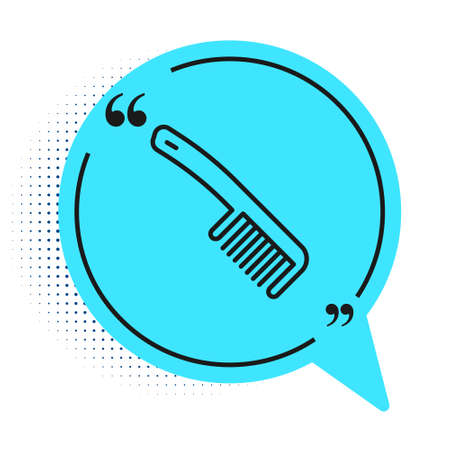 Black line Hairbrush icon isolated on white background. Comb hair sign. Barber symbol. Blue speech bubble symbol. Vector