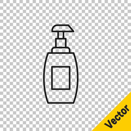 Black line Bottle of liquid antibacterial soap with dispenser icon isolated on transparent background. Antiseptic. Disinfection, hygiene, skin care. Vector