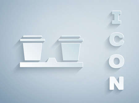 Paper cut Coffee cup to go icon isolated on grey background. Paper art style. Vector Illustration Иллюстрация