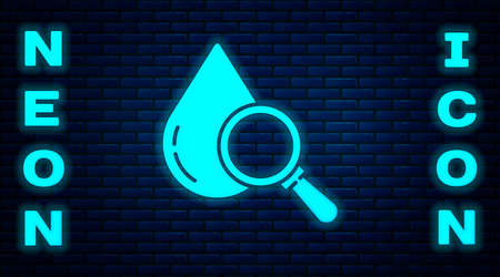 Glowing neon Drop and magnifying glass icon isolated on brick wall background. Vector Illustration