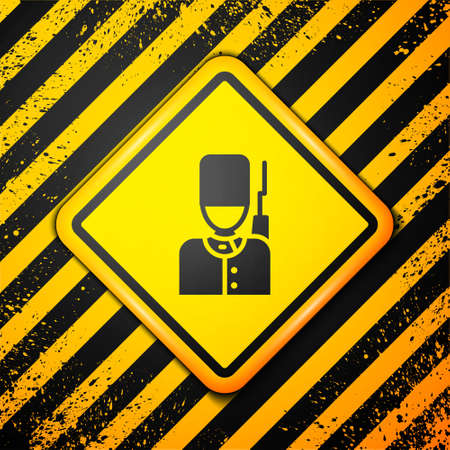 Black British guardsman with bearskin hat marching icon isolated on yellow background. Warning sign. Vector Illustration