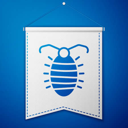 Blue Larva insect icon isolated on blue background. White pennant template. Vector