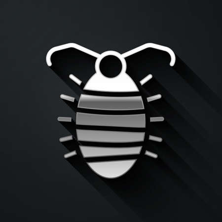 Silver Larva insect icon isolated on black background. Long shadow style. Vector