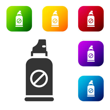 Black Spray against insects icon isolated on white background. Set icons in color square buttons. Vector