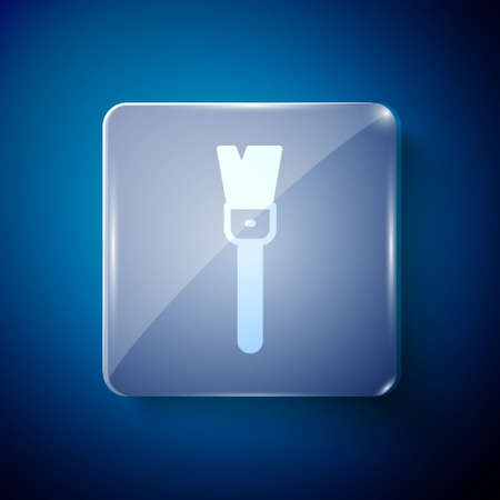 White Paint brush icon isolated on blue background. For the artist or for archaeologists and cleaning during excavations. Square glass panels. Vector
