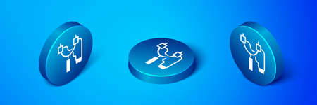 Isometric Slingshot icon isolated on blue background. Blue circle button. Vector