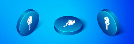 Isometric Toy horse icon isolated on blue background. Blue circle button. Vector